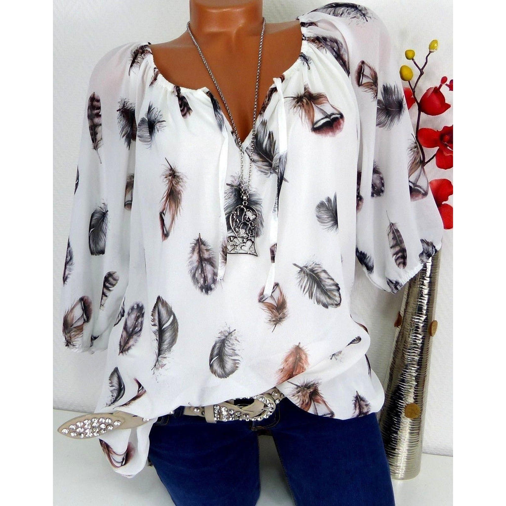 White Loose Feather Print V Neck Shirts- Plus Size Available - asheers4u
