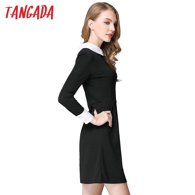 Women office black dress with white collar vestidos - asheers4u