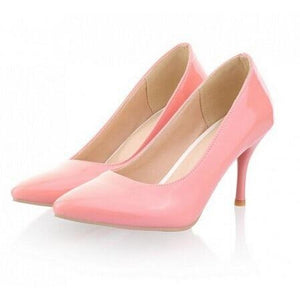 Thin heel classic Women pump up wedding shoes in white red nude beige - asheers4u