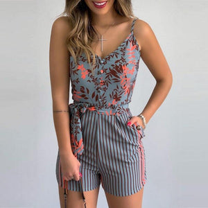 XL Size Jumpsuit V-neck Floral Print Beach Romper-asheers4u-04 Gray-XL-asheers4u