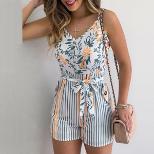 XL Size Jumpsuit V-neck Floral Print Beach Romper-asheers4u-04 White-XL-asheers4u