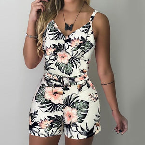 XL Size Jumpsuit V-neck Floral Print Beach Romper-asheers4u-05 White-XL-asheers4u