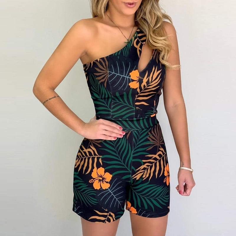 XL Size Jumpsuit V-neck Floral Print Beach Romper-asheers4u-09 Black-XL-asheers4u