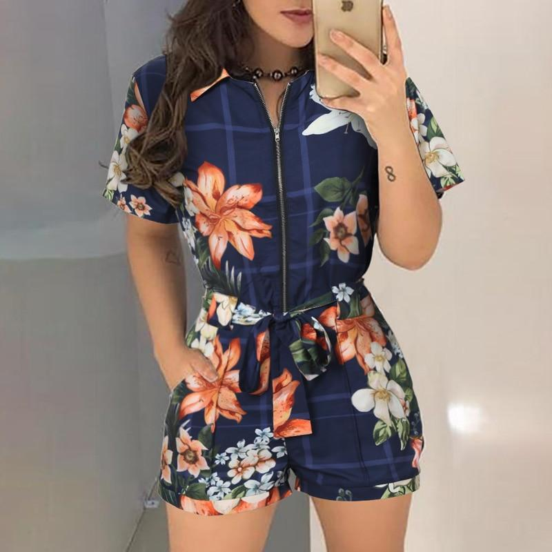 XL Size Jumpsuit V-neck Floral Print Beach Romper-asheers4u-19 Blue-XL-asheers4u
