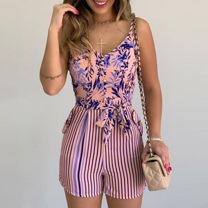XL Size Jumpsuit V-neck Floral Print Beach Romper-asheers4u-01 Dark Blue-XL-asheers4u