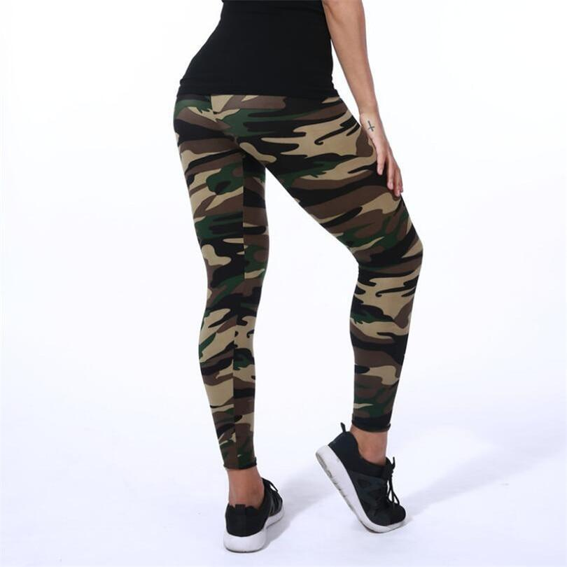 XL Size Camouflage Women's Army Green Leggings - asheers4u