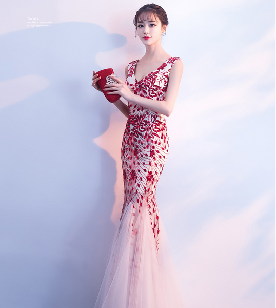 Summer new long banquet dress noble and elegant fishtail Slim V-neck host dress was thin