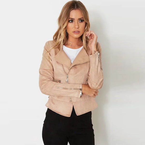 2020 autumn and winter new European station fashion diagonal zipper solid color leather tie rope suede jacket jacket