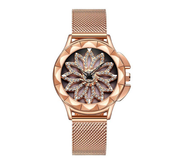 Diamond fashion mesh belt women's watch slim with female quartz watch