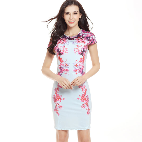 USA SIZE Slim short-sleeved printed dress tight-fitting hip pencil skirt