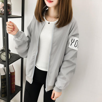 Printed jacket female jacket baseball uniform loose bf shirt