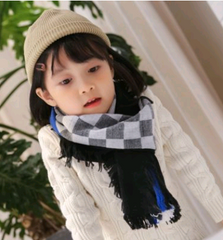2020 autumn and winter new imitation cashmere children's scarf lattice collar color tassel wild shawl
