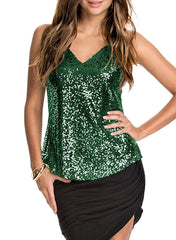 Silver sequined sexy vest halter top