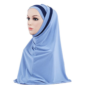 200003922,H109 latest two pieces muslim amira hijab plain pull on islamic scarf head wrap headband underscarf hats,guiro,Zeinab Fashion.