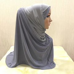 H096 fashion muslim amira hijab with rhinestones pull on hoody islamic scarf head wrap pray scarf headbands