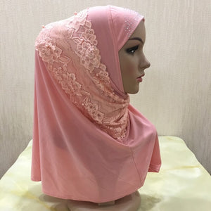 200003922,H079 beautiful muslim girls hijab with lace and beads pull on amira islamic scarf head wrap,guiro,Zeinab Fashion.