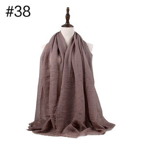 200003922,Women Muslim Crinkle Hijab Scarf Soft Cotton Headscarf Islamic Hijab Shawls And Wraps,guiro,Zeinab Fashion.