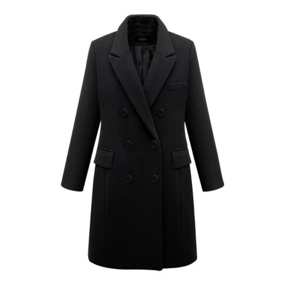 Long woolen coat wool coat in windbreaker