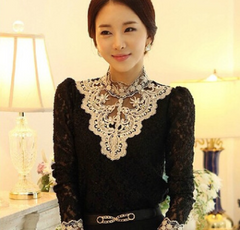 Large size women's Korean version of the slim lace bottoming shirt women