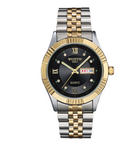 Watches,Wo Shi watch stainless steel golden couple watch business Mens watch waterproof female non mechanical table gift wholesale,guiro,Zeinab Fashion.
