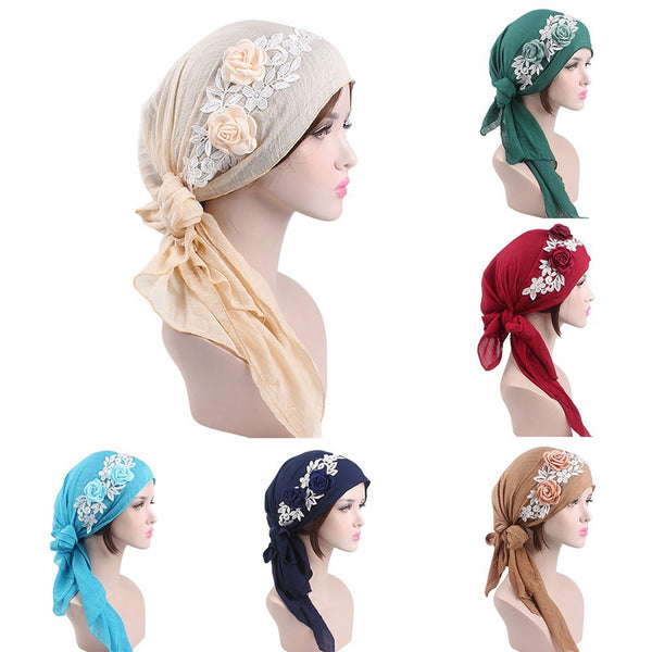 Fashion Flower Women Muslim Turban Cotton Head Wrap Hat Chemo Cap Headscarf