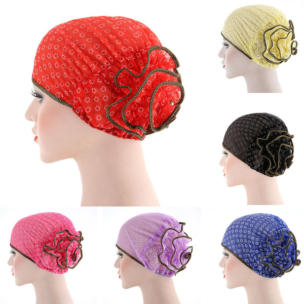 Women Flower Back Islamic Muslim Hijab Chemo Cancer Turban Hat Cotton Headwrap
