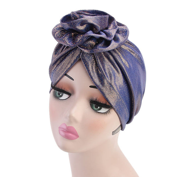 Muslim Women Floral Pleated Turban Hat Solid Color Chemo Cap Bandana Headwrap