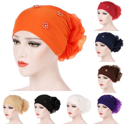 Islamic Muslim Hijab Faux Pearl Rhinestone Women Flower Back Turban Hat Headwrap