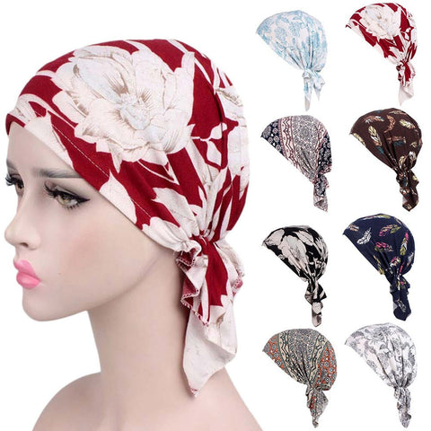 Fashion Printed Women Muslim Elastic Turban Cotton Hat Head Wrap Chemo Cap