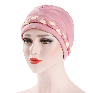 Hats,Fashion Women Soft Cotton Beanie Hat Dual Color Braid Muslim Turban Chemo Cap,guiro,Zeinab Fashion.