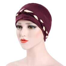 Load image into Gallery viewer, Hats,Fashion Women Soft Cotton Beanie Hat Dual Color Braid Muslim Turban Chemo Cap,guiro,Zeinab Fashion.