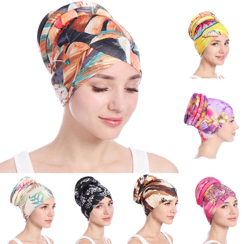 Colorful Women Islamic Muslim Hijab Turban Hat Headwrap Scarf Cover Chemo Cap