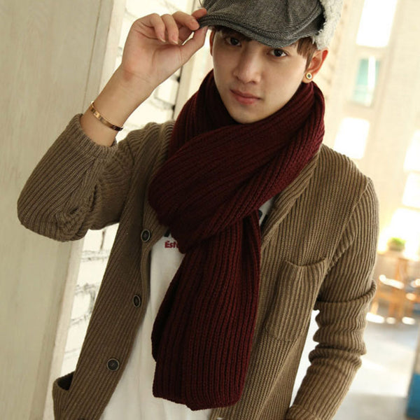Unisex Winter Fashion Solid Color Scarves Wraps Knitted Warm Couple Scarf