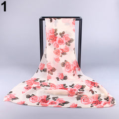 Flowers Girls Women Long Soft Scarf Lady Roses Print Shawl Chiffon Scarves Gift