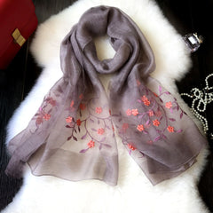 Ethnic Embroidery Flower Women Artificial Silk Soft Autumn Winter Scarves Shawls
