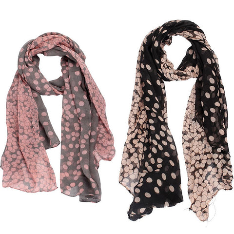 Fashion Women Bicolor Long Spots Scarf Wraps Shawl Stole Soft Voile Scarves