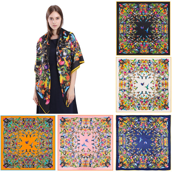 Spring Autumn Women Colorful Birds Print Square Scarf Shawl Neck Wrap Scarves