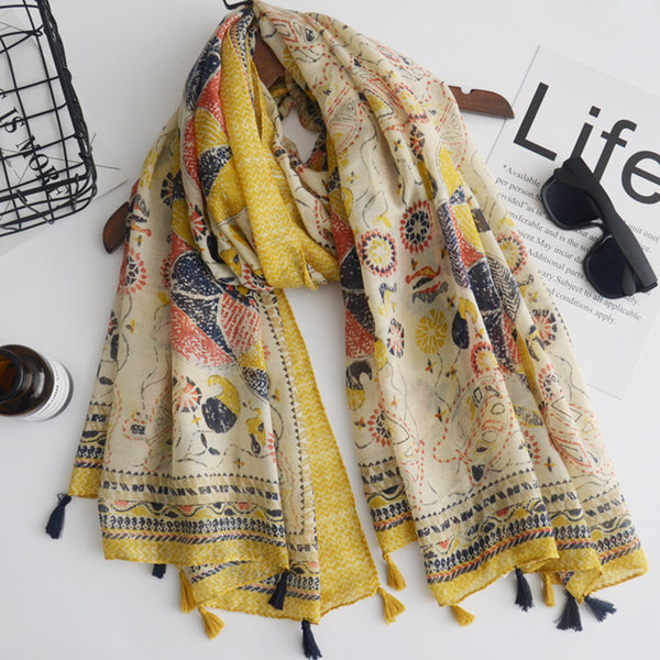 Vintage Sunflower Pattern Scarves Women Silk Cover Up Scarf Beach Travel Shawl