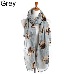 Women Fashion Long Cute Pug Dog Head Print Scarf Wraps Shawl Soft Scarves