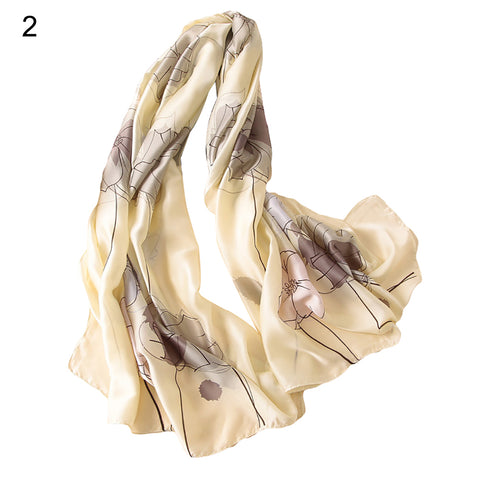 Elegant Long Scarf Neck Wrap Flower Print Shawl Women Soft All-match Scarves