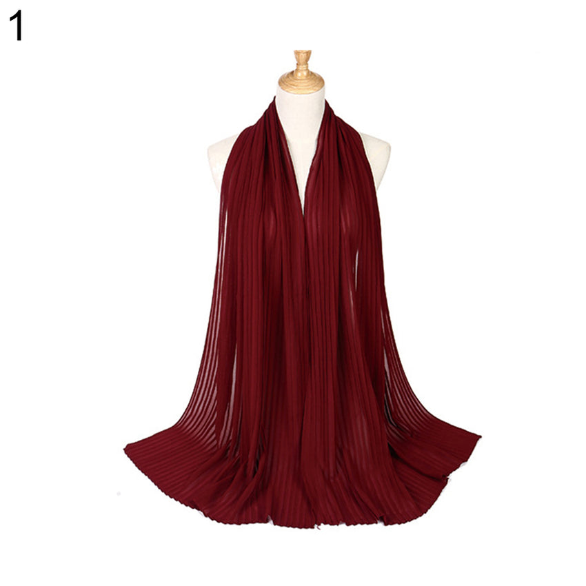 Plain Pleat Chiffon Wrinkle Long Shawl Hijab Crumple Pashmina Muslim Women Scarf