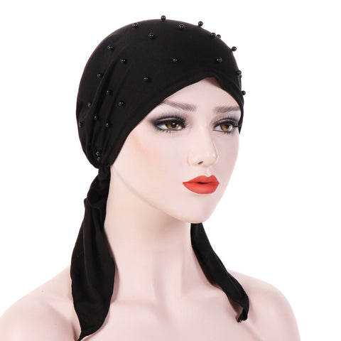 Fashion Solid Color Beading Tail Women Headwear Muslim Hijab Head Wrap Turban