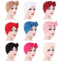 Solid Color Bowknot Beads Decor Women's Muslim Hijab Turban Head Wrap Hat Cap