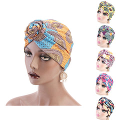 Ethnic Spiral Knotted Turban Hat Stretch Chemo Cap Muslim Women Bandana Headwrap