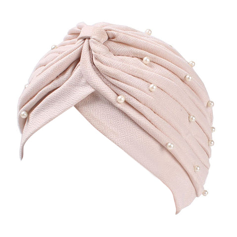Women Turban Hat Faux Pearl Pleated Muslim Hijab Stretch Cap Chemo Head Scarf