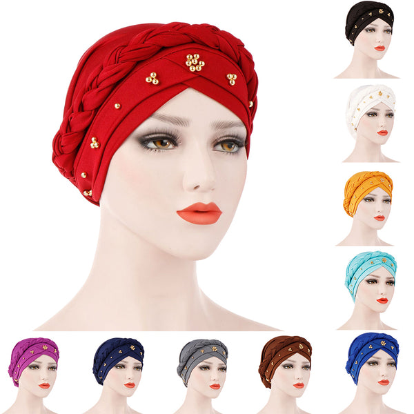 Solid Color Braid Beads Decor Women Muslim Hijab Turban Head Scarf Cap Hat