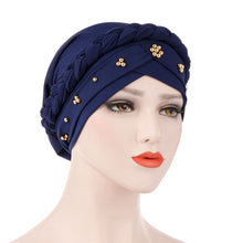 Load image into Gallery viewer, Scarfs & Scarves,Solid Color Braid Beads Decor Women Muslim Hijab Turban Head Scarf Cap Hat,guiro,Zeinab Fashion.