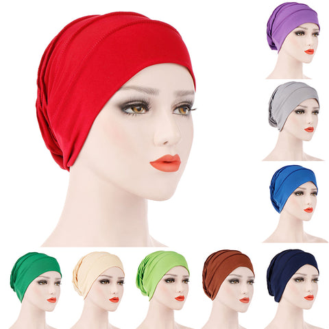 Simple Solid Color Pleated Hat Women Muslim Hijab Turban Arabic Head Scarf Cap