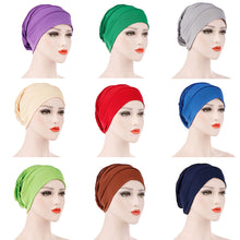Load image into Gallery viewer, Scarfs & Scarves,Simple Solid Color Pleated Hat Women Muslim Hijab Turban Arabic Head Scarf Cap,guiro,Zeinab Fashion.