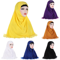 Solid Color Rhinestones Lace Women's Muslim Turban Hijab Head Wrap Headscarf